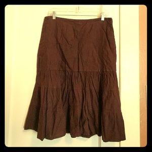Gap Brown Linen Drop Waist Tiered Ruffle Skirt